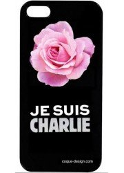 """Coque fleurs """"je suis Charlie"""""""