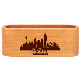 Présentoir porte cartes de visite en bois clair naturel gravé