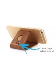 Support smartphone personnalisé bois foncé gravé