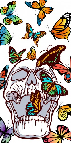 Coque Tête de mort  papillon